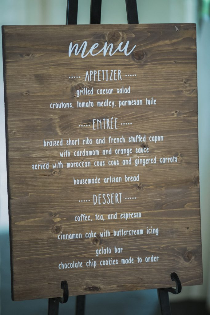 We designed our menu and had it printed on wood